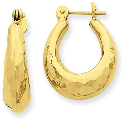 Hammered Hoop Earrings in 14K Gold