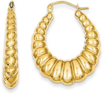 Scalloped Hoop Earrings in 14K Gold