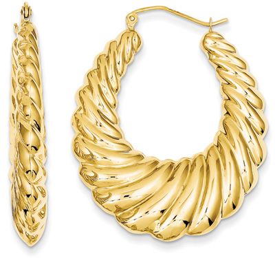 Large Twisted Hoop Earrings in 14K Yellow Gold