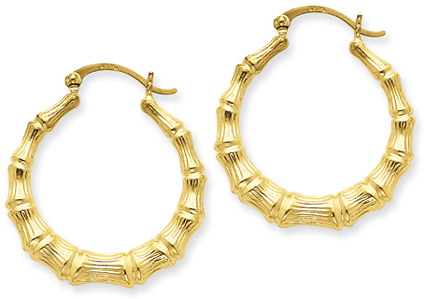 Medium Bamboo Gold Hoop Earrings in 14K Yellwo Gold