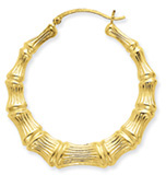 Large Bamboo Hoop Earrings in 14K Gold
