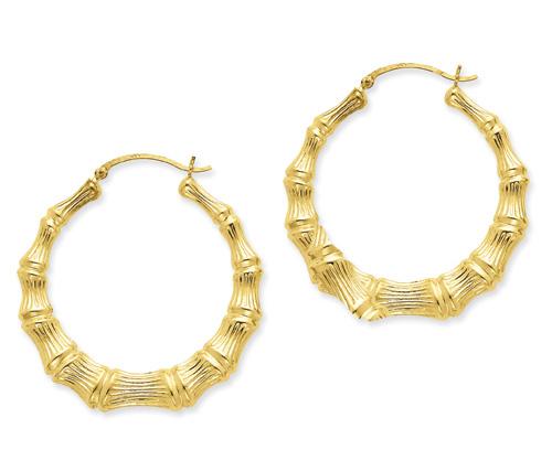 Large Bamboo Hoop Earrings in 14K Gold