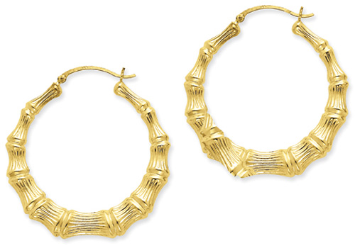 2-Inch Extra Large Bamboo Hoop Earrings, 14K Gold
