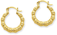 Bamboo Hoop Earrings, 14K Yellow Gold