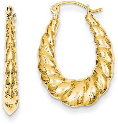 Polished Twisted Hoop Earrings in 14K Yellow Gold