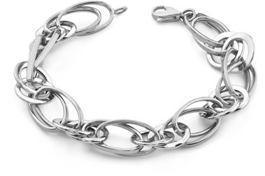 14K White Gold Elliptical Link Bracelet