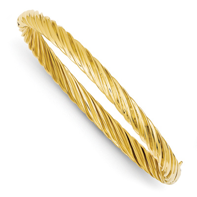 Swirl Hinged Bangle Bracelet in 14K Yellow Gold