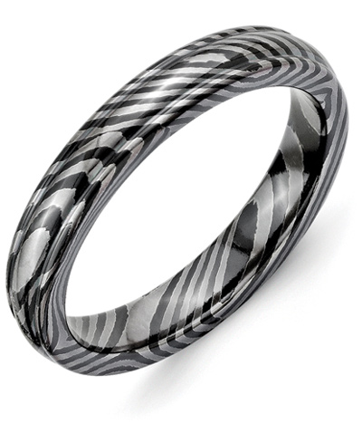 Timoku Tri-Domed Ridged Black Titanium Wedding Band Ring