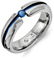Blue Titanium Sapphire Wedding Band Ring