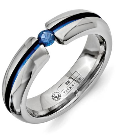 Blue Titanium Sapphire Wedding Band Ring