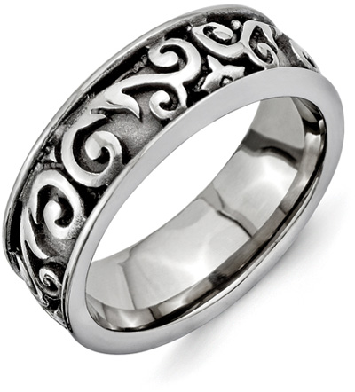 Chisel Titanium Paisley Wedding Band