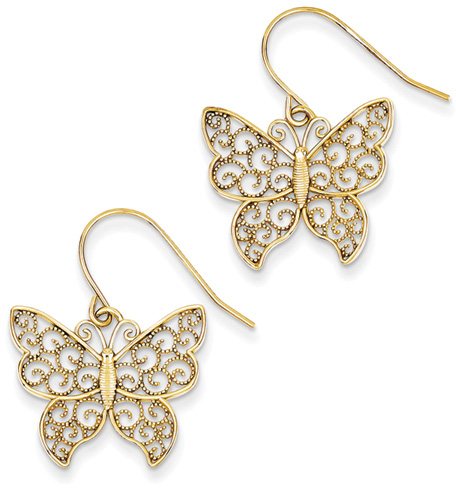 Filigree Butterfly Earrings, 14K Yellow Gold