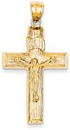 14K Yellow Gold Wooden Cross Crucifix Pendant