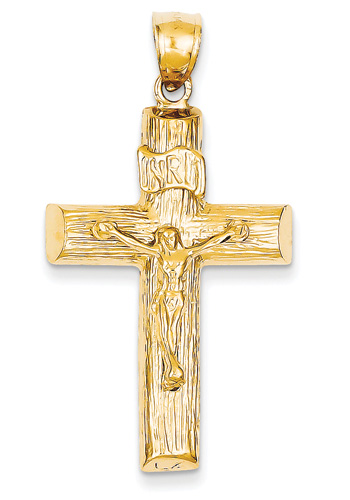 14K Yellow Gold Wooden Cross Crucifix Pendant