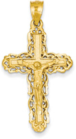 Ornate Crucifix Pendant, 14K Yellow Gold