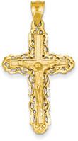 Ornate Crucifix Pendant, 14K Yellow Gold