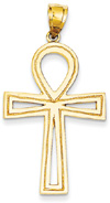 Large Ankh Cross Pendant, 14K Yellow Gold