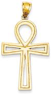 Large Ankh Cross Pendant, 14K Yellow Gold