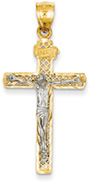 Cross-Stitched Crucifix Pendant, 14K Two-Tone Gold