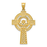 Celtic Spiral Cross Pendant, 14K Yellow Gold