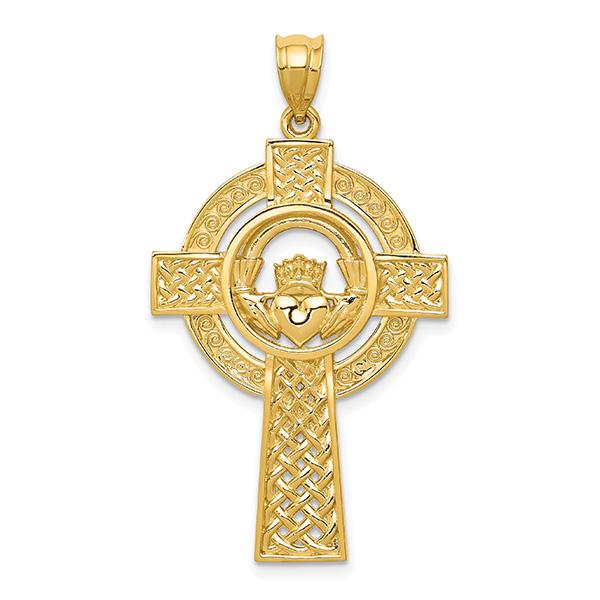Celtic Spiral Cross Pendant, 14K Yellow Gold