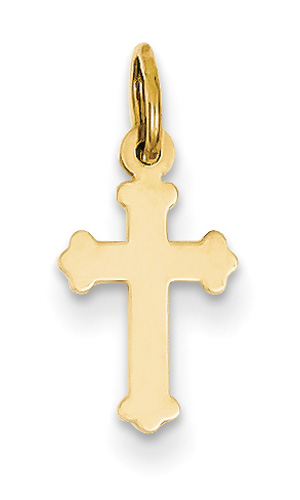 Small Plain Polished Heraldry Cross Pendant, 14K Yellow Gold