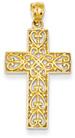 Celtic Heart Cross Pendant, 14K Gold