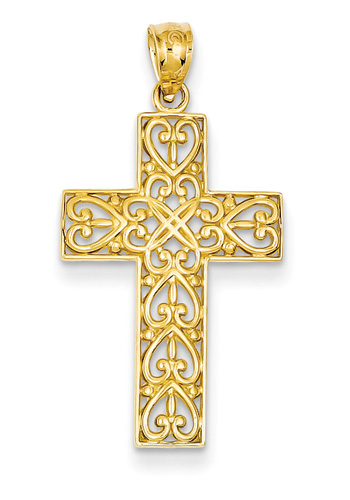 Celtic Heart Cross Pendant, 14K Gold