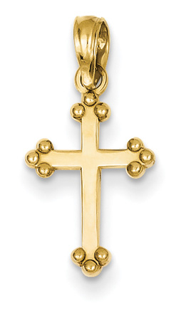Small Fleurie Cross Necklace, 14K Yellow Gold