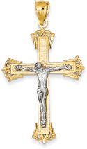 Baronial Crucifix Pendant, 14K Two-Tone Gold
