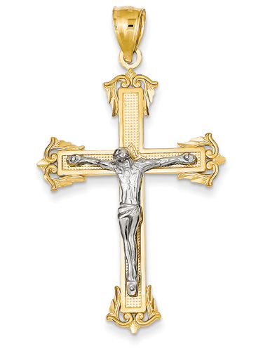 Baronial Crucifix Pendant, 14K Two-Tone Gold