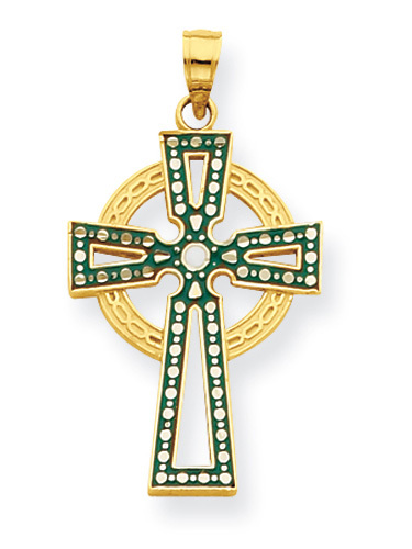 Irish Green Celtic Cross Pendant, 14K Gold