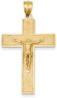 14K Gold Textured Crucifix Pendant