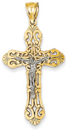 Ornate Paisley Crucifix Pendant, 14K Two-Tone Gold