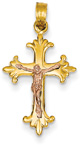 14K Rose and Yellow Gold Fleury Crucifix Pendant