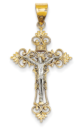 Fleur-de-Lis INRI Crucifix Pendant, 14K Two-Tone Gold