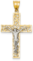 Paisley Crucifix Necklace, 14K Two-Tone Gold