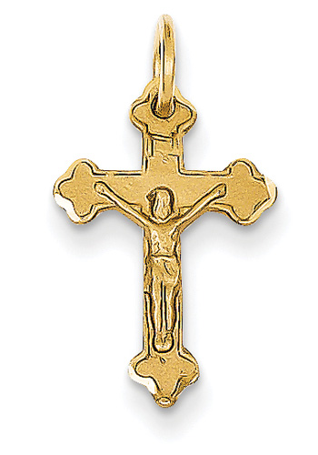 Small 14K Yellow Gold Fleurie Crucifix Pendant