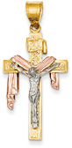 Draped Robe Crucifix Pendant, 14K Tri-Color Gold