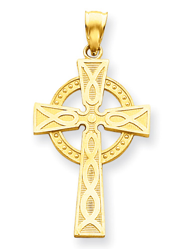 Celtic Circle Cross Necklace, 14K Yellow Gold
