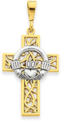 Crown of Thorns Claddagh Cross Pendant, 14K Two-Tone Gold
