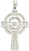 14K White Gold Celtic Spiral Cross Pendant