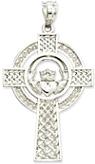 14K White Gold Celtic Spiral Cross Pendant
