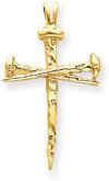 Nails Cross Pendant, 14K Yellow Gold