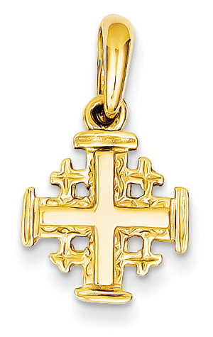 Small Jerusalem Cross Pendant, 14K Yellow Gold