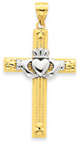 Heart Claddagh Cross Necklace, 14K Two-Tone Gold