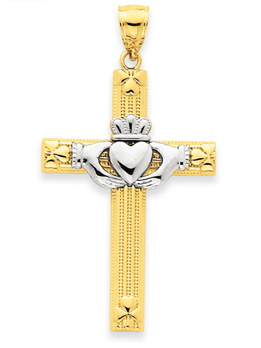 Heart Claddagh Cross Necklace in 14k Two-Tone Gold