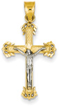 Ornate Arms Crucifix Pendant, 14K Two-Tone Gold