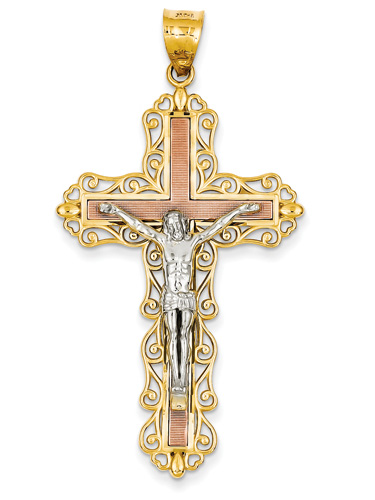 Large Adorned Crucifix Pendant with Heart Accents in 14K Tri-Color Gold