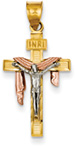 14K Tri-Color Gold Crucifix Pendant with Robe